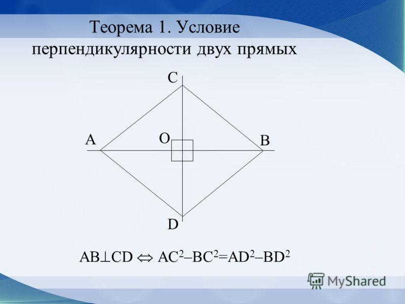 Теорема 1. Условие перпендикулярности двух прямых AB CD AC 2 –BC 2 =AD 2 –BD 2 А С В D O