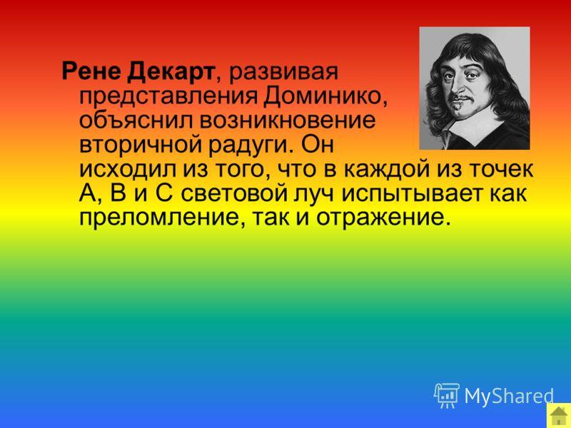 Рене Декарт, развивая представления Доминико, объяснил возникновение вторичной радуги. Он исходил из того, что в каждой из точек А, В и С световой луч испытывает как преломление, так и отражение.
