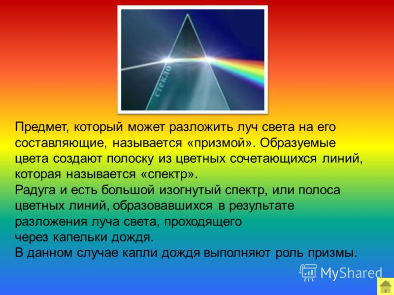 Предмет, который может разложить луч света на его составляющие, называется «призмой». Образуемые цвета создают полоску из цветных сочетающихся линий, которая называется «спектр». Радуга и есть большой изогнутый спектр, или полоса цветных линий, образ