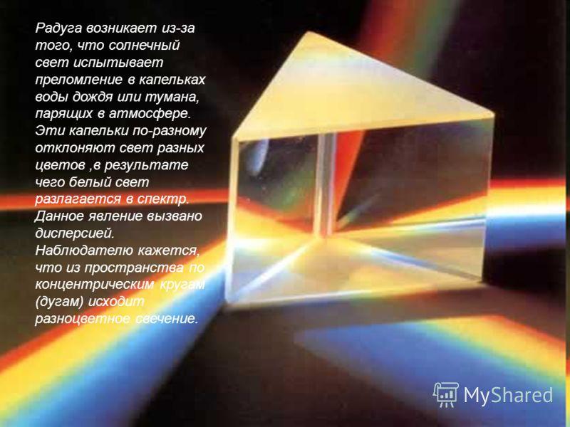 Радуга возникает из-за того, что солнечный свет испытывает преломление в капельках воды дождя или тумана, парящих в атмосфере. Эти капельки по-разному отклоняют свет разных цветов,в результате чего белый свет разлагается в спектр. Данное явление вызв