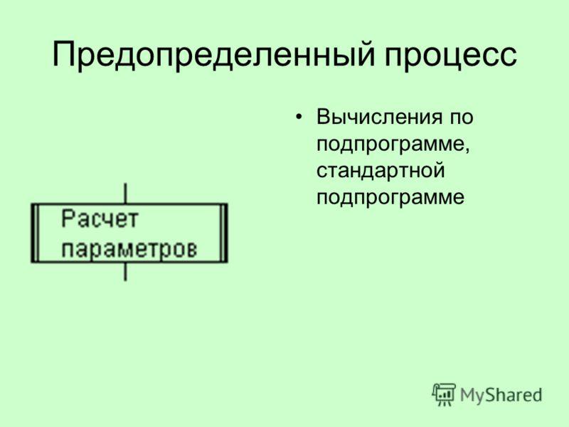 Предопределенный процесс Вычисления по подпрограмме, стандартной подпрограмме