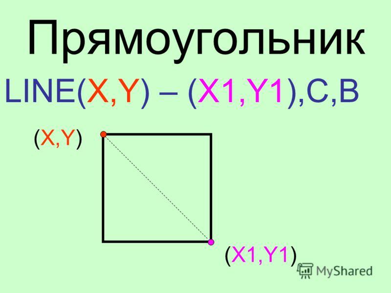 Прямоугольник LINE(X,Y) – (X1,Y1),C,B (X,Y) (X1,Y1)