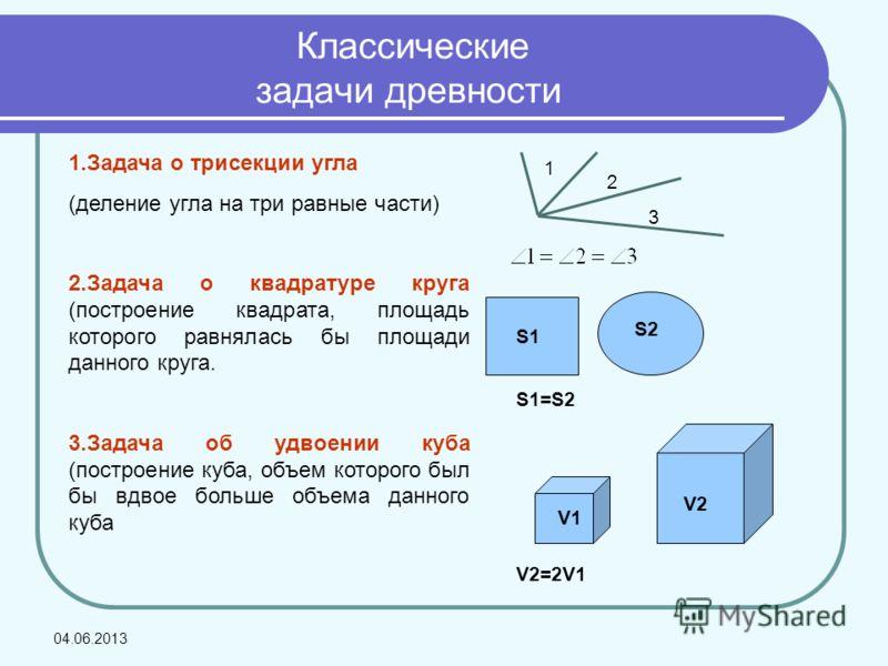 Классические задачи древности 1.Задача о трисекции угла (деление угла на три равные части) 2.Задача о квадратуре круга (построение квадрата, площадь которого равнялась бы площади данного круга. 3.Задача об удвоении куба (построение куба, объем которо