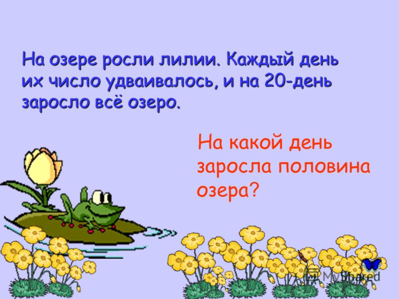 На озере росли лилии. Каждый день их число удваивалось, и на 20-день заросло всё озеро. На какой день заросла половина озера ?
