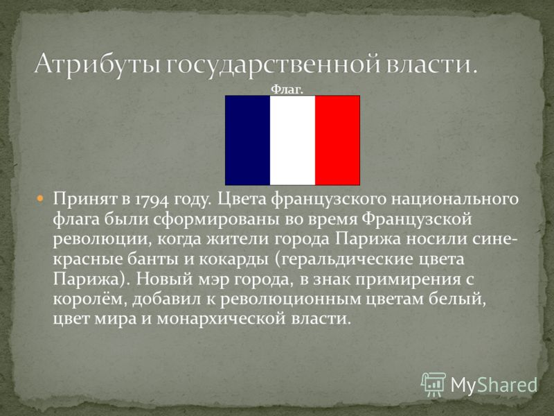 Принят в 1794 году. Цвета французского национального флага были сформированы во время Французской революции, когда жители города Парижа носили сине- красные банты и кокарды (геральдические цвета Парижа). Новый мэр города, в знак примирения с королём,