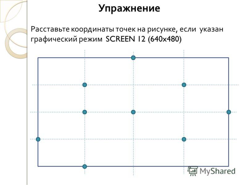 Упражнение Расставьте координаты точек на рисунке, если указан графический режим SCREEN 12 (640x480)