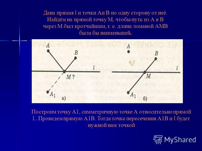 Дана прямая l и точки Аи В по одну сторону от неё. Найдём на прямой точку М, чтобы путь из А в В через М был кротчайшим, т. е. длина ломаной АМВ была бы наименьшей. Построим точку А1, симметричную точке А относительно прямой l.. Проведем прямую А1В.