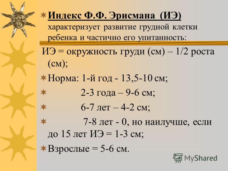 Индекс Ф.Ф. Эрисмана (ИЭ) характеризует развитие грудной клетки ребенка и частично его упитанность: ИЭ = окружность груди (см) – 1/2 роста (см); Норма: 1-й год - 13,5-10 см; 2-3 года – 9-6 см; 6-7 лет – 4-2 см; 7-8 лет - 0, но наилучше, если до 15 ле