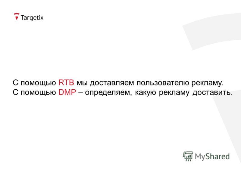 С помощью RTB мы доставляем пользователю рекламу. С помощью DMP – определяем, какую рекламу доставить.