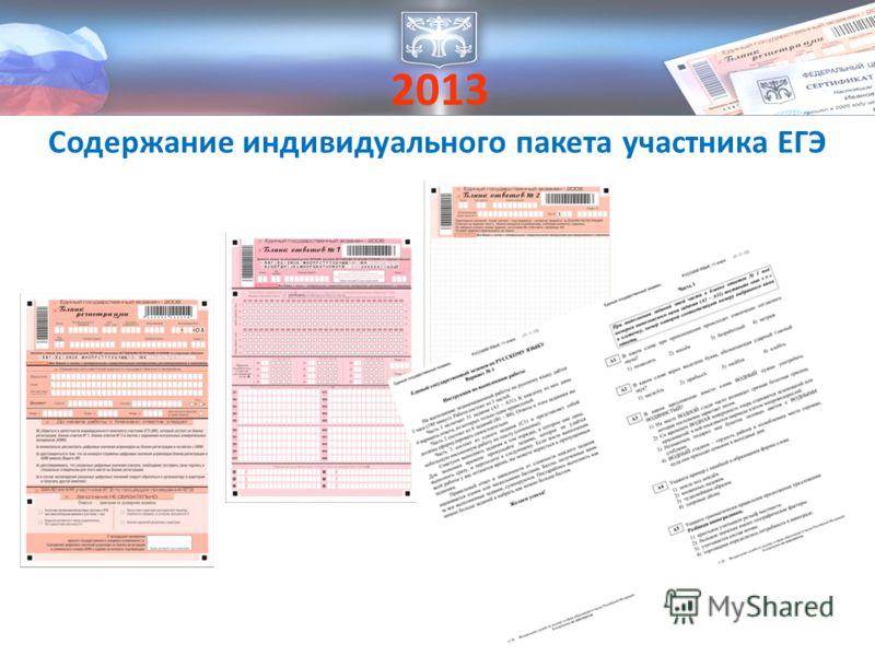2013 Содержание индивидуального пакета участника ЕГЭ