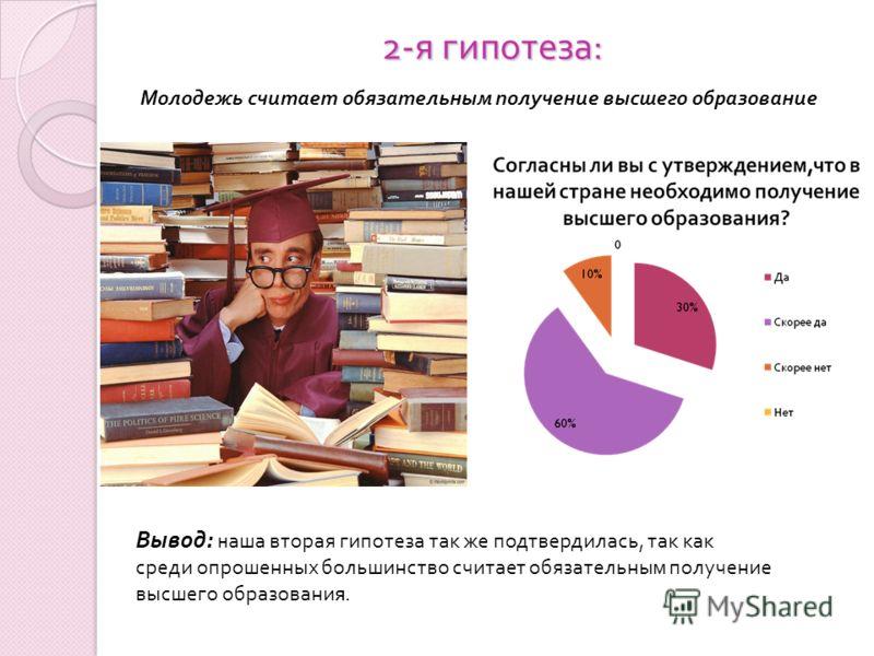 2- я гипотеза : Молодежь считает обязательным получение высшего образование Вывод: н аша вторая гипотеза так же подтвердилась, так как среди опрошенных большинство считает обязательным получение высшего образовани я.