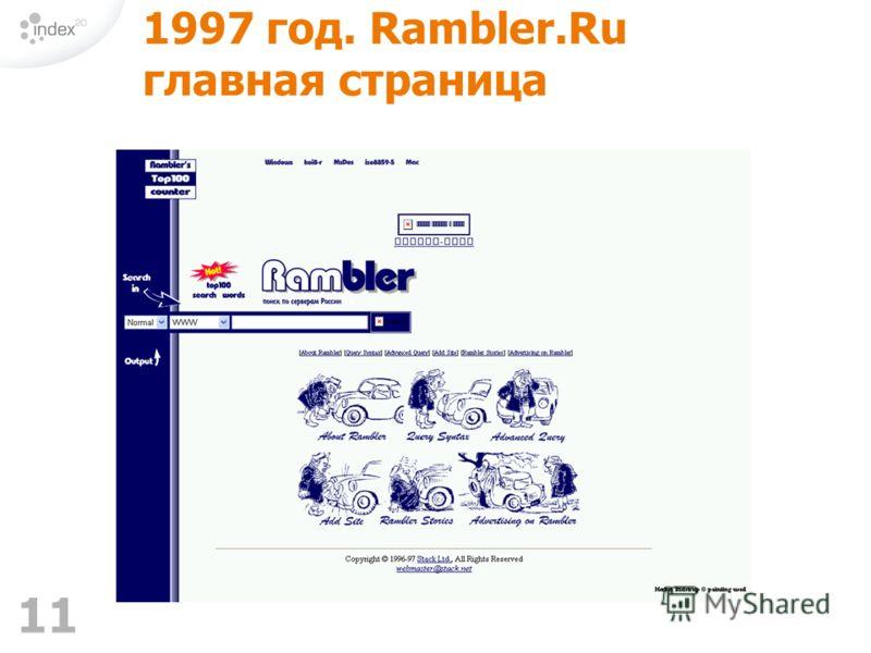 11 1997 год. Rambler.Ru главная страница