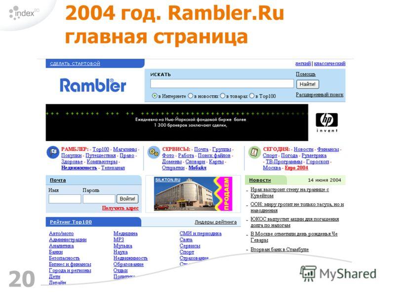 20 2004 год. Rambler.Ru главная страница