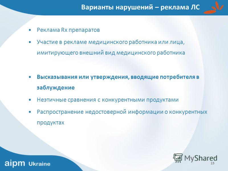 aipm Ukraine 15 Варианты нарушений – реклама ЛС Реклама Rx препаратов Участие в рекламе медицинского работника или лица, имитирующего внешний вид медицинского работника Высказывания или утверждения, вводящие потребителя в заблуждение Неэтичные сравне