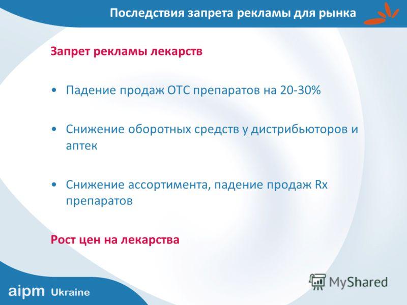 aipm Ukraine Запрет рекламы лекарств Падение продаж ОТС препаратов на 20-30% Снижение оборотных средств у дистрибьюторов и аптек Снижение ассортимента, падение продаж Rx препаратов Рост цен на лекарства Последствия запрета рекламы для рынка