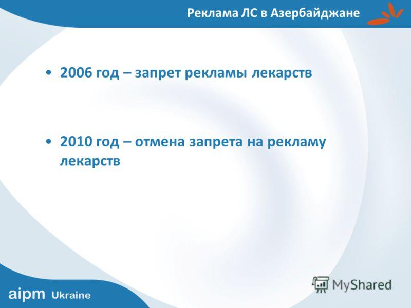 2006 год – запрет рекламы лекарств 2010 год – отмена запрета на рекламу лекарств Реклама ЛС в Азербайджане