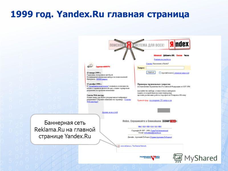 1999 год. Yandex.Ru главная страница Баннерная сеть Reklama.Ru на главной странице Yandex.Ru
