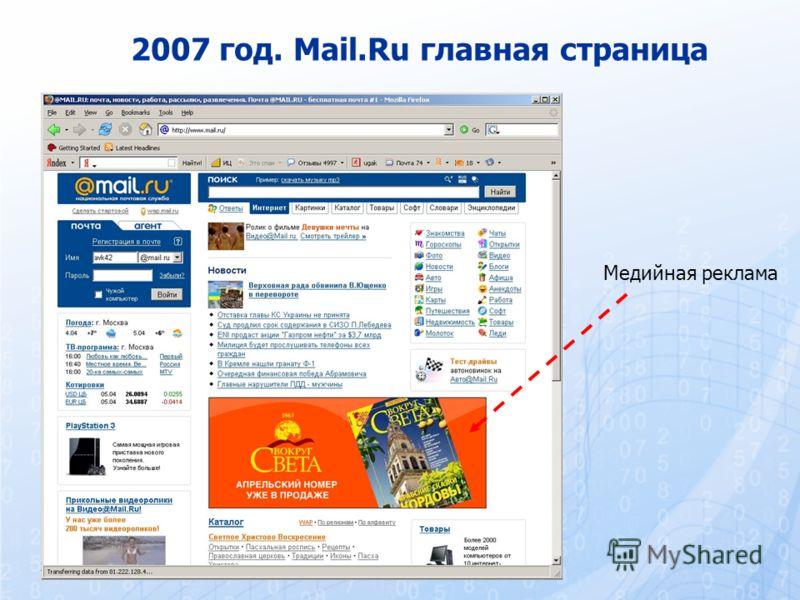 2007 год. Mail.Ru главная страница Медийная реклама