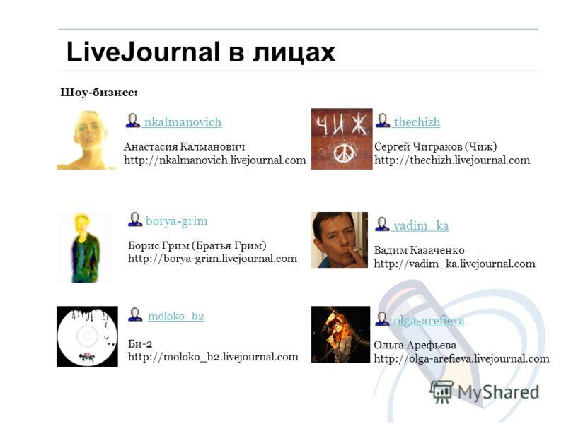 Шоу-бизнес: Анастасия Калманович http://nkalmanovich.livejournal.com nkalmanovich Борис Грим (Братья Грим) http://borya-grim.livejournal.com borya-grim Би-2 http://moloko_b2.livejournal.com moloko_b2 Сергей Чиграков (Чиж) http://thechizh.livejournal.
