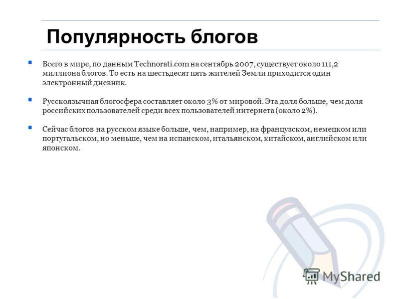 Популярность блогов Всего в мире, по данным Technorati.com на сентябрь 2007, существует около 111,2 миллиона блогов. То есть на шестьдесят пять жителей Земли приходится один электронный дневник. Русскоязычная блогосфера составляет около 3% от мировой