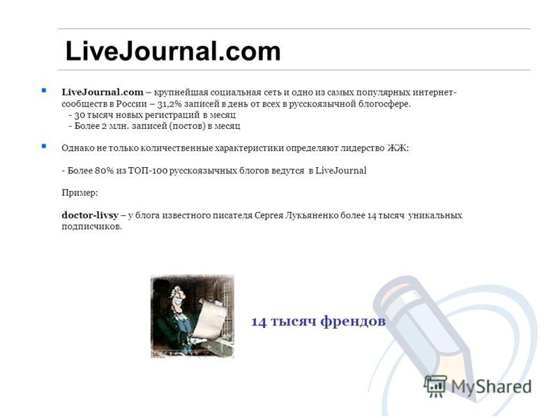 LiveJournal.com – крупнейшая социальная сеть и одно из самых популярных интернет- сообществ в России – 31,2% записей в день от всех в русскоязычной блогосфере. - 30 тысяч новых регистраций в месяц - Более 2 млн. записей (постов) в месяц Однако не тол
