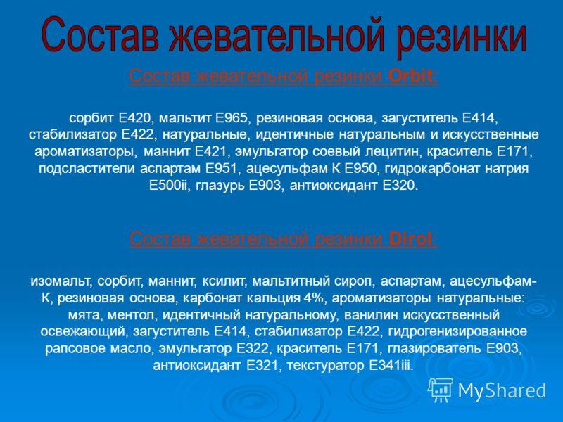 Состав жевательной резинки Orbit: сорбит E420, мальтит E965, резиновая основа, загуститель E414, стабилизатор E422, натуральные, идентичные натуральным и искусственные ароматизаторы, маннит E421, эмульгатор соевый лецитин, краситель E171, подсластите