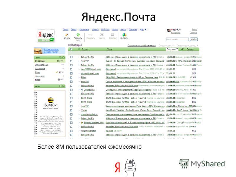 Яндекс.Почта Более 8М пользователей ежемесячно