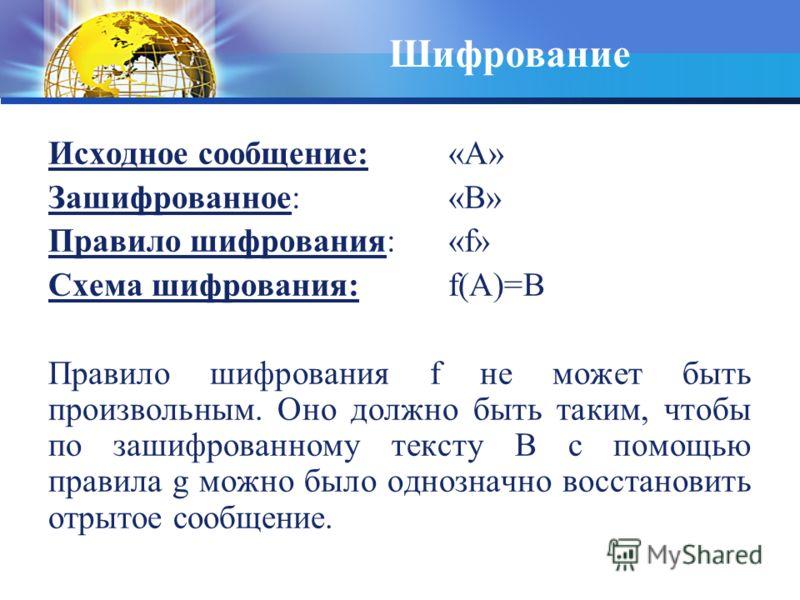Исходное сообщение: «А» Зашифрованное: «В» Правило шифрования: «f» Схема шифрования: f(A)=B Правило шифрования f не может быть произвольным. Оно должно быть таким, чтобы по зашифрованному тексту В с помощью правила g можно было однозначно восстановит