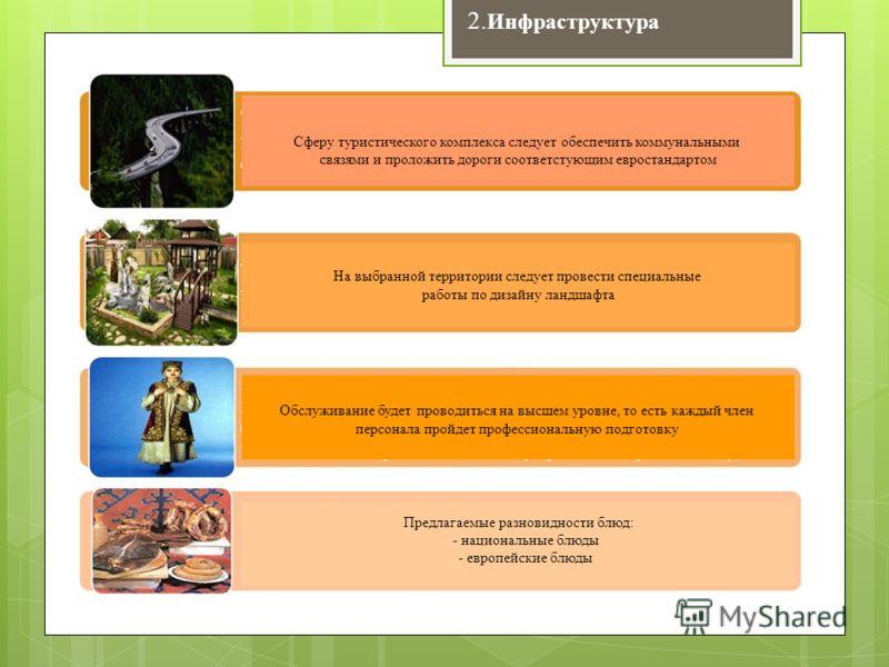 2. Инфраструктура Сферу туристического комплекса следует обеспечить коммунальными связями и проложить дороги соответстующим евростандартом На выбранной территории следует провести специальные работы по дизайну ландшафта Обслуживание будет проводиться