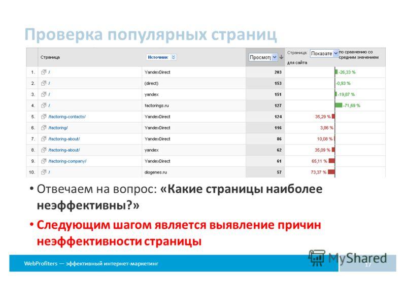 WebProfiters эффективный интернет-маркетинг Отвечаем на вопрос: «Какие страницы наиболее неэффективны?» Следующим шагом является выявление причин неэффективности страницы 17 Проверка популярных страниц