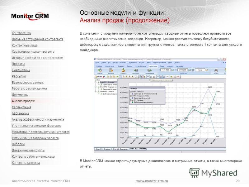 Аналитическая система Monitor CRMwww.monitor-crm.ru 20www.monitor-crm.ru В сочетании с модулем математические операции сводные отчеты позволяют провести все необходимые аналитические операции. Например, можно рассчитать точку безубыточности, дебиторс