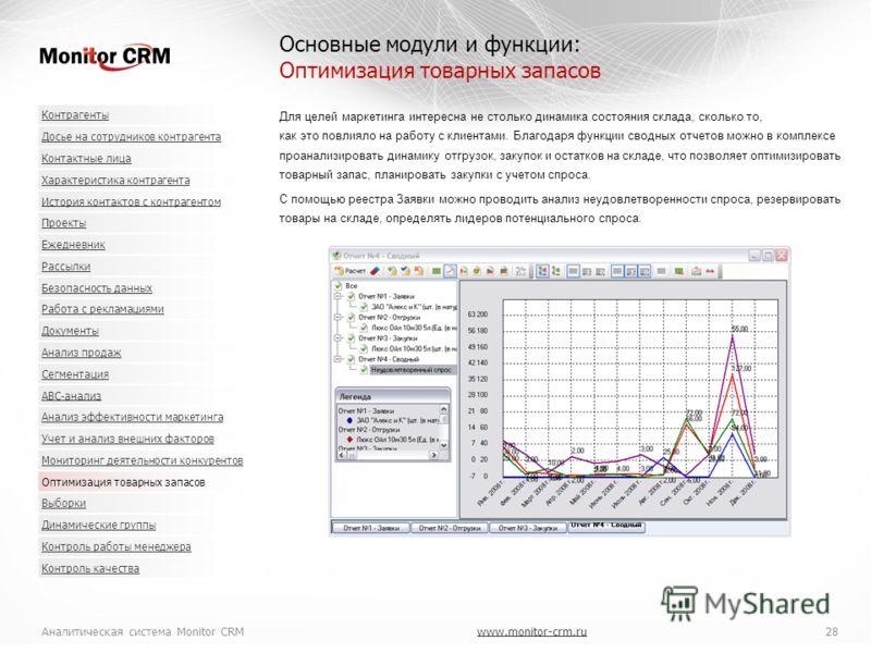 Аналитическая система Monitor CRMwww.monitor-crm.ru 28www.monitor-crm.ru Для целей маркетинга интересна не столько динамика состояния склада, сколько то, как это повлияло на работу с клиентами. Благодаря функции сводных отчетов можно в комплексе проа