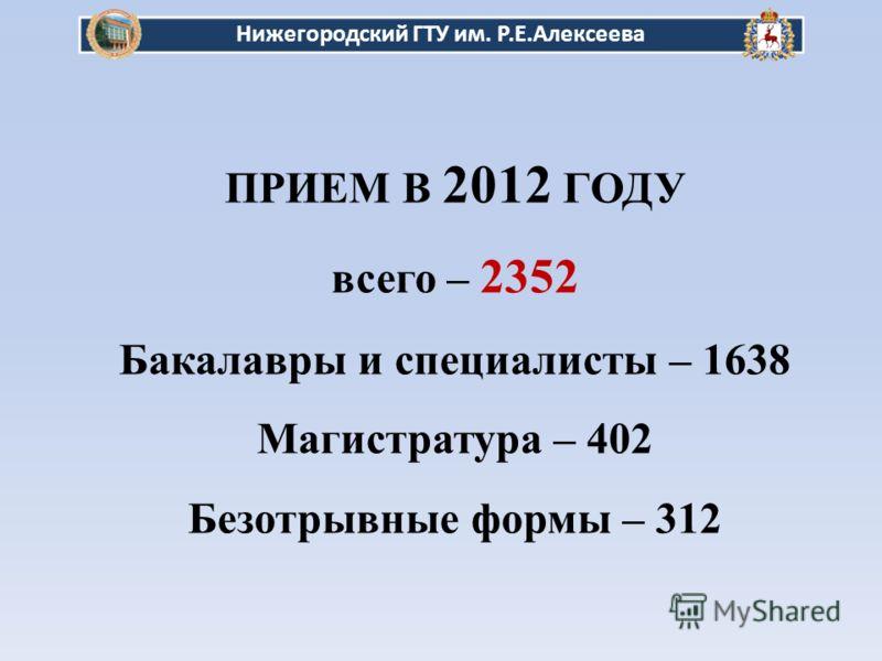 ПРИЕМ В 2012 ГОДУ всего – 2352 Бакалавры и специалисты – 1638 Магистратура – 402 Безотрывные формы – 312