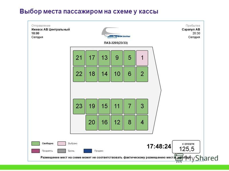 Выбор места пассажиром на схеме у кассы