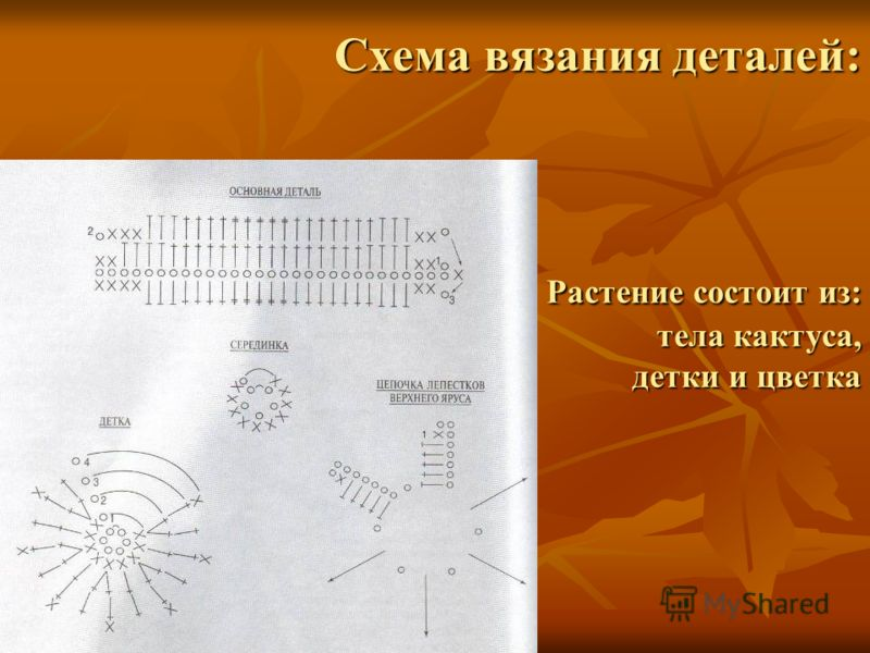 Схема вязания деталей: