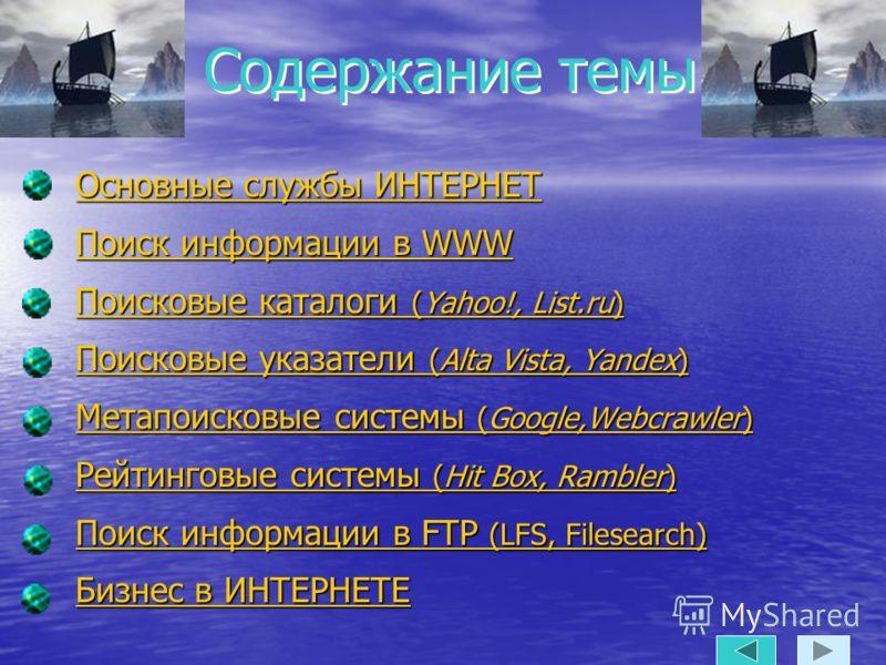 Содержание темы Основные службы ИНТЕРНЕТ Основные службы ИНТЕРНЕТ Поиск информации в WWW Поиск информации в WWW Поисковые каталоги (Yahoo!, List.ru) Поисковые каталоги (Yahoo!, List.ru) Поисковые указатели (Alta Vista, Yandex) Поисковые указатели (Al