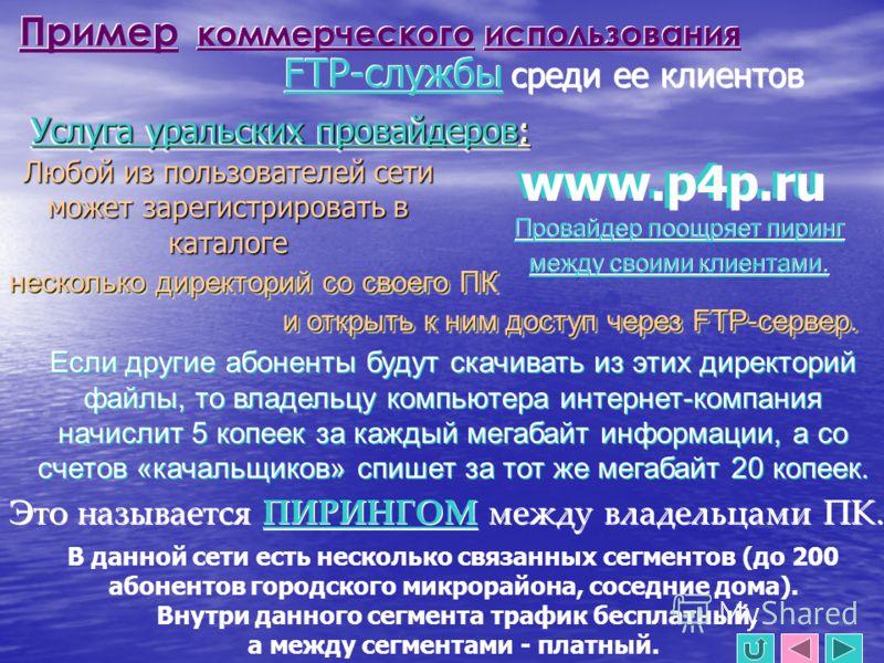 Пример коммерческого использования FTP-службы среди ее клиентов Услуга уральских провайдеров: Любой из пользователей сети может зарегистрировать в каталоге www.p4p.ru несколько директорий со своего ПК и открыть к ним доступ через FTP-сервер. Если дру