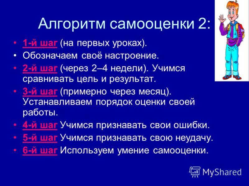 Алгоритм самооценки 2: 1-й шаг (на первых уроках). Обозначаем своё настроение. 2-й шаг (через 2–4 недели). Учимся сравнивать цель и результат. 3-й шаг (примерно через месяц). Устанавливаем порядок оценки своей работы. 4-й шаг Учимся признавать свои о