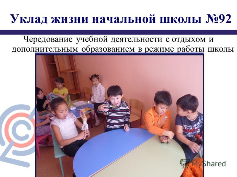 Уклад жизни начальной школы 92 Чередование учебной деятельности с отдыхом и дополнительным образованием в режиме работы школы