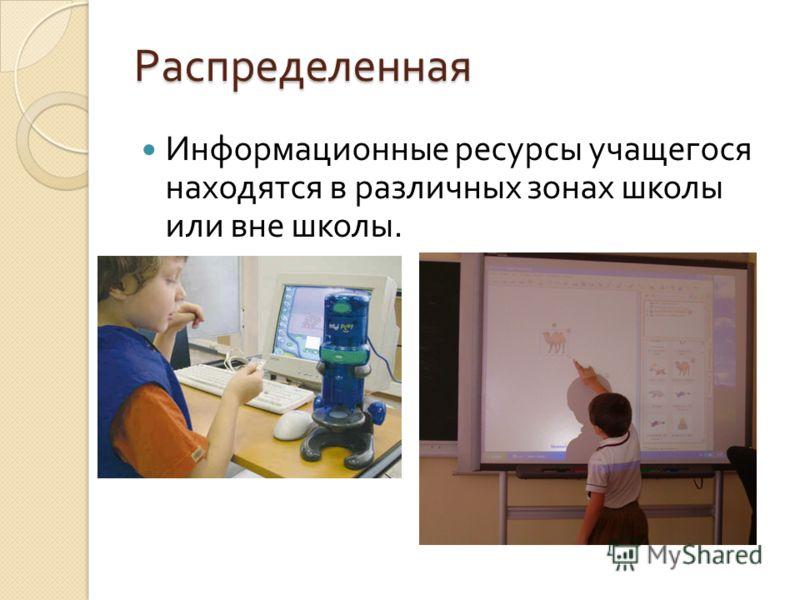 Распределенная Информационные ресурсы учащегося находятся в различных зонах школы или вне школы.