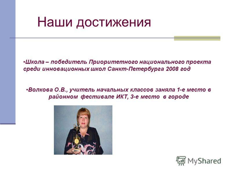 Наши достижения Школа – победитель Приоритетного национального проекта среди инновационных школ Санкт-Петербурга 2008 год Волкова О.В., учитель начальных классов заняла 1-е место в районном фестивале ИКТ, 3-е место в городе