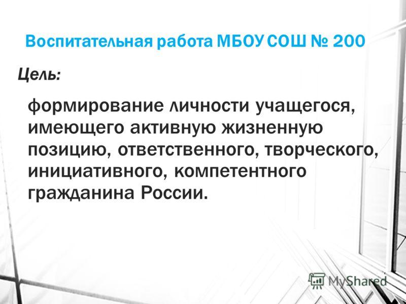 Воспитательная работа МБОУ СОШ 200 Цель: формирование личности учащегося, имеющего активную жизненную позицию, ответственного, творческого, инициативного, компетентного гражданина России.
