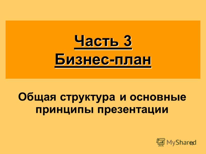 15 Часть 3 Бизнес-план Общая структура и основные принципы презентации