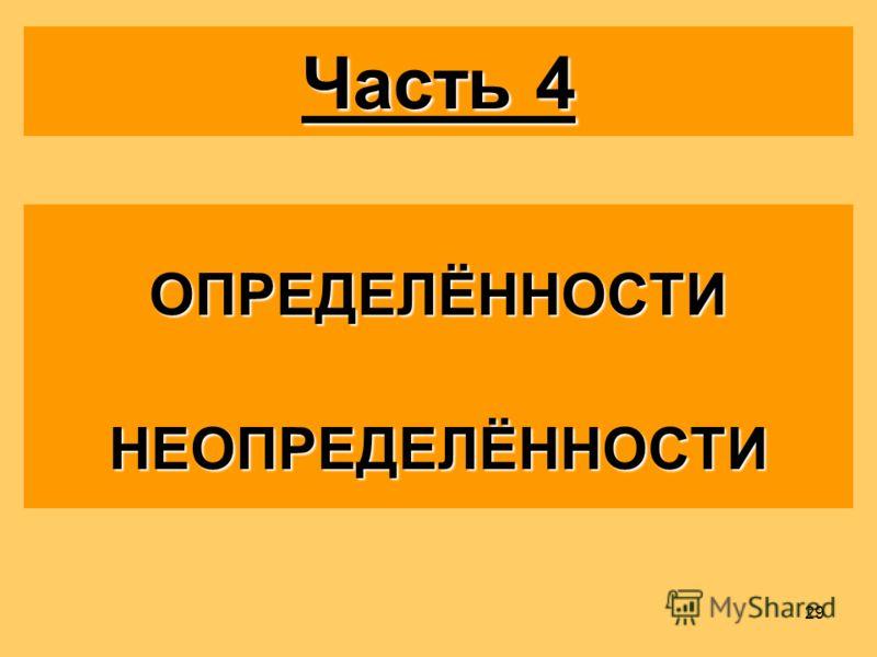 29 Часть 4 ОПРЕДЕЛЁННОСТИНЕОПРЕДЕЛЁННОСТИ