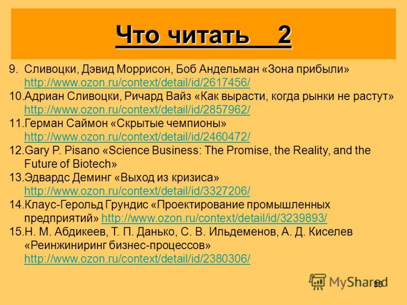 36 9. 9.Сливоцки, Дэвид Моррисон, Боб Андельман «Зона прибыли» http://www.ozon.ru/context/detail/id/2617456/ http://www.ozon.ru/context/detail/id/2617456/ 10. 10.Адриан Сливоцки, Ричард Вайз «Как вырасти, когда рынки не растут» http://www.ozon.ru/con
