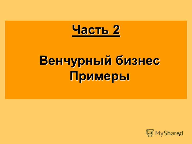 9 Часть 2 Венчурный бизнес Примеры