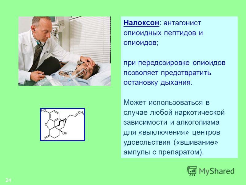 24 Налоксон: антагонист опиоидных пептидов и опиоидов; при передозировке опиоидов позволяет предотвратить остановку дыхания. Может использоваться в случае любой наркотической зависимости и алкоголизма для «выключения» центров удовольствия («вшивание»