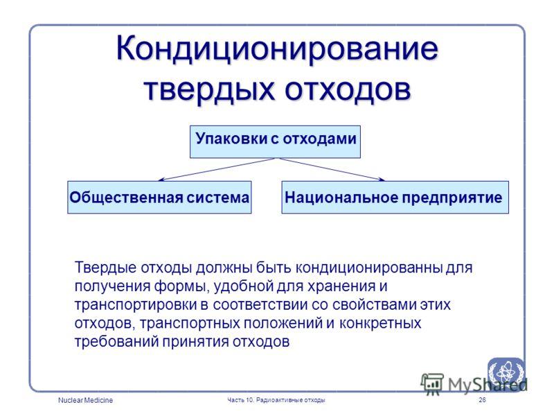 Nuclear Medicine Часть 10. Радиоактивные отходы26 Твердые отходы должны быть кондиционированны для получения формы, удобной для хранения и транспортировки в соответствии со свойствами этих отходов, транспортных положений и конкретных требований приня