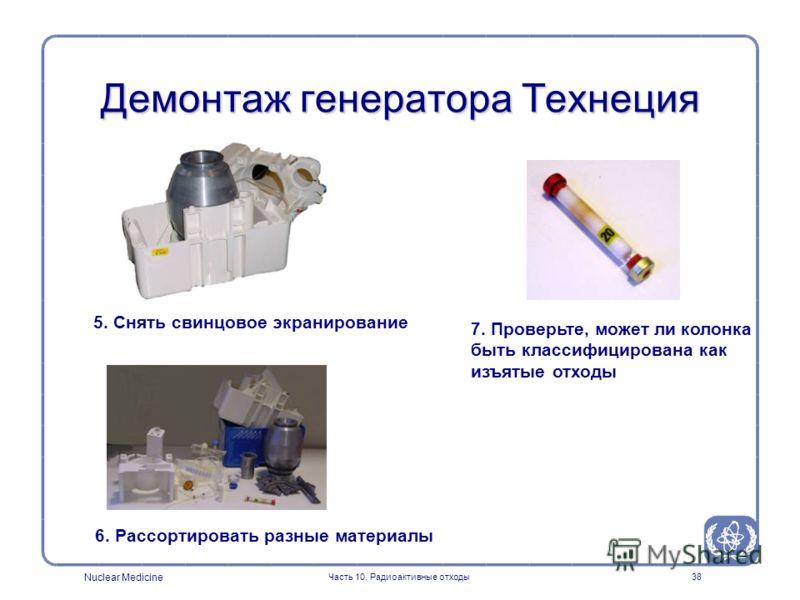 Nuclear Medicine Часть 10. Радиоактивные отходы38 Демонтаж генератора Технеция 5. Снять свинцовое экранирование 6. Рассортировать разные материалы 7. Проверьте, может ли колонка быть классифицирована как изъятые отходы