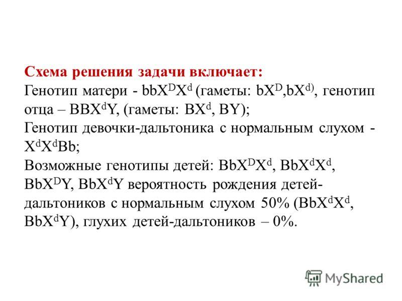 Схема решения задачи включает: Генотип матери - bbX D X d (гаметы: bX D,bX d), генотип отца – ВВХ d Y, (гаметы: ВХ d, ВY); Генотип девочки-дальтоника с нормальным слухом - Х d Х d Вb; Возможные генотипы детей: ВbX D X d, ВbХ d Х d, ВbX D Y, ВbХ d Y в